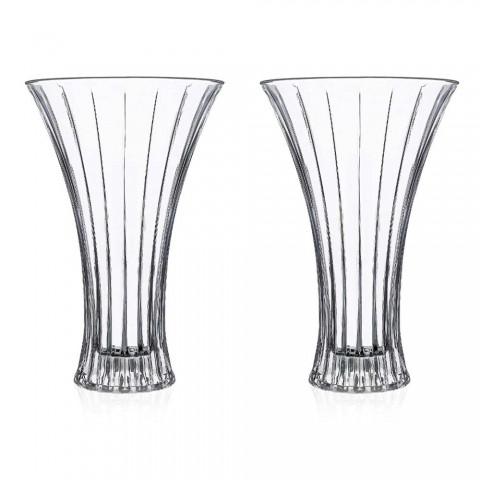 2 designerskie wazony dekoracyjne z przezroczystego luksusu ozdobionego ekokryształami - Senzatempo