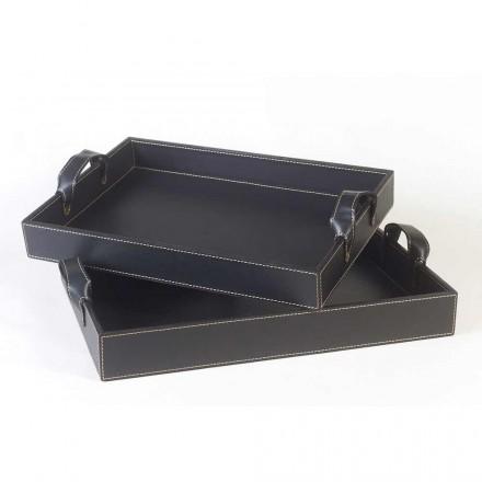 2 tace designerskie w czarnej skórze 41x28x5cm i 45x32x6cm Anastasia