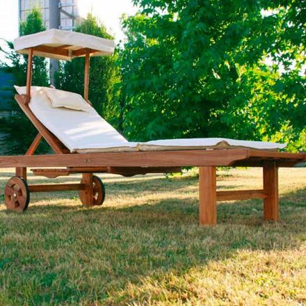 Leżak regulowany do ogrodu z drewna teak