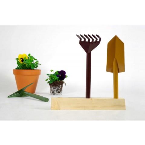 3 metalowe narzędzia ogrodnicze z drewnianą podstawą Made in Italy - Garden