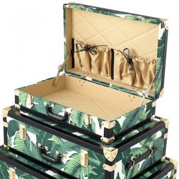 3 designerskie kufry z Mdf i tkaniny z czarnymi detalami imitującymi skórę - Amazonia