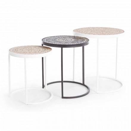 3 stoliki kawowe w formacie Mdf z inkrustowanymi dekoracjami Homemotion - Mariam