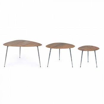 3 nowoczesne stoliki kawowe z blatem z drewna mango Homemotion - Kalidi