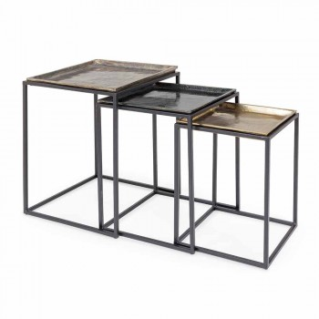 3 kwadratowe stoliki kawowe z aluminium i stali Homemotion - Quinzio