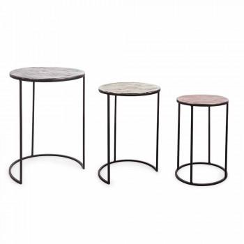3 okrągłe stoliki kawowe z aluminium i stali Homemotion - Sempronio
