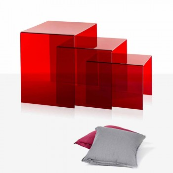 3 czerwone stoły Amalia do układania w stosy, nowoczesny design, wykonane we Włoszech