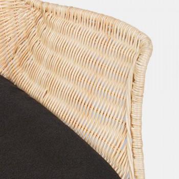 4 krzesła ogrodowe z plecionej wikliny i stali Homemotion - Berecca