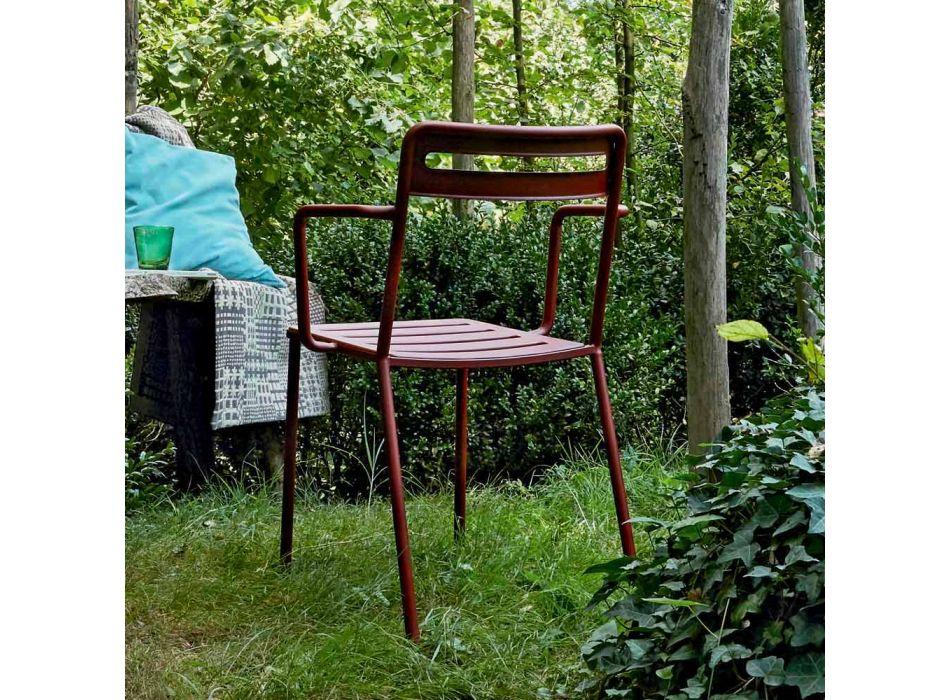 4 zewnętrzne metalowe krzesła z możliwością sztaplowania Made in Italy - Yolonda