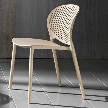 4 krzesła z polipropylenu o nowoczesnym designie do ustawiania w stosy - Pocahontas