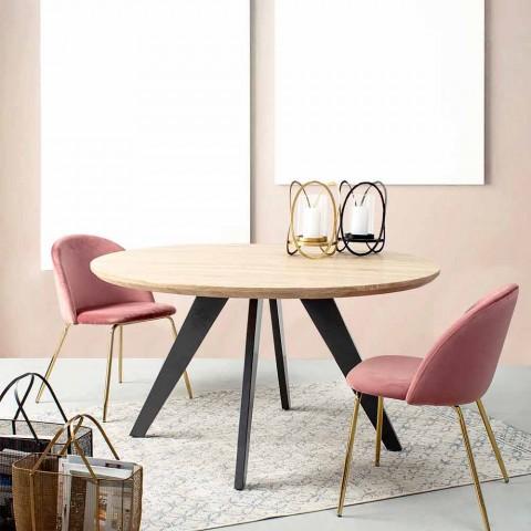 4 designerskie krzesła tapicerowane welurem ze stalową konstrukcją Homemotion - Dania