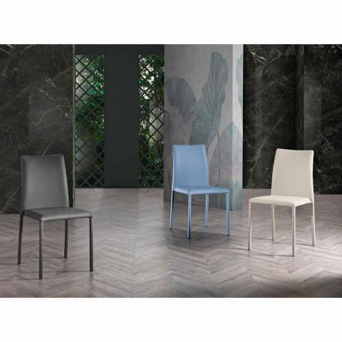 4 eleganckie krzesła o nowoczesnym designie w kolorowej ekoskórze do salonu - Grenger