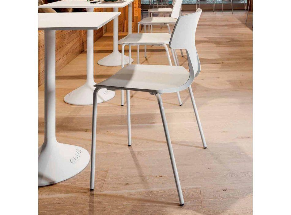 4 krzesła z możliwością ustawiania jeden na drugim w metal i polipropylen Made in Italy - Clarinda