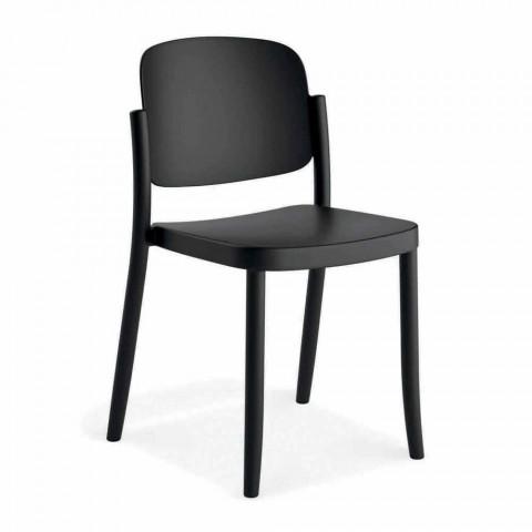 4 nowoczesne krzesła ogrodowe z możliwością układania w stosy z polipropylenu Made in Italy - Bernetta