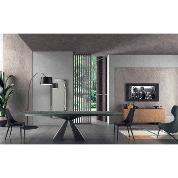 4 nowoczesne krzesła stalowe z tapicerowanym aksamitnym siedziskiem Made in Italy - Nirvana
