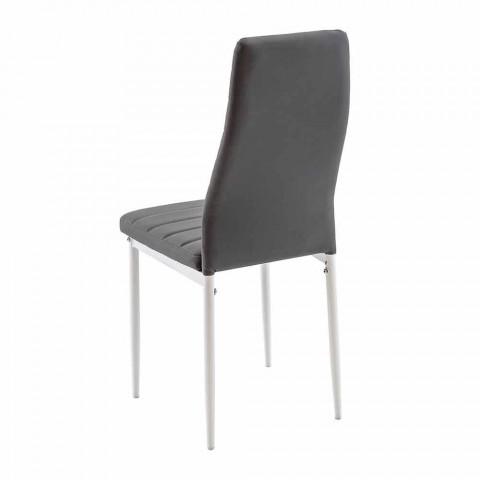 4 nowoczesne krzesła do jadalni z imitacji skóry i metalowych nóg - Spiga