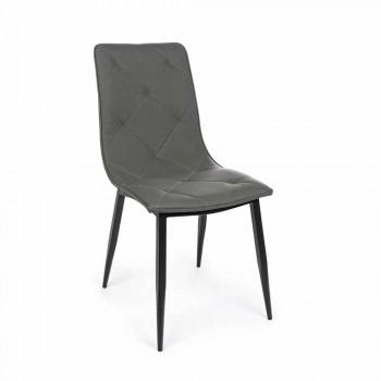 4 nowoczesne krzesła pokryte skórą ekologiczną ze stalową podstawą Homemotion - Daisa