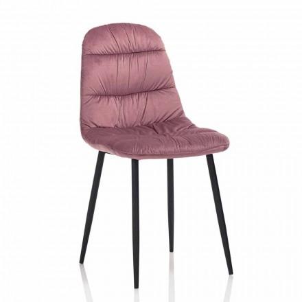 Krzesło do jadalni w kolorze różowym, szarym lub aksamitnym akwamarynie, 4 sztuki - Ciga