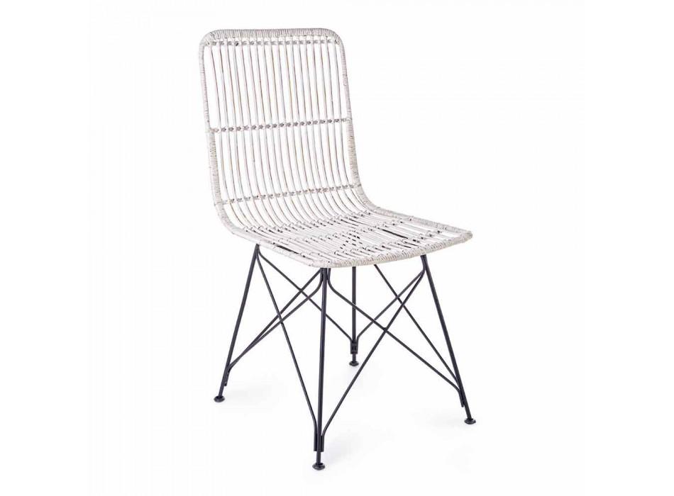 4 krzesła do jadalni ze stali i splotu od Kubu Homemotion - Kendall