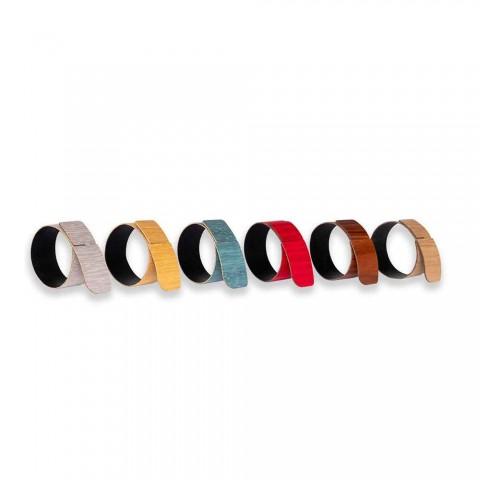 6 pierścieni na serwetki z nowoczesnego drewna i tkaniny Made in Italy - Nocnik -
