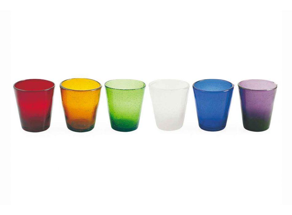 6 szklanek Water Craft Service z kolorowego szkła dmuchanego - Jukatan