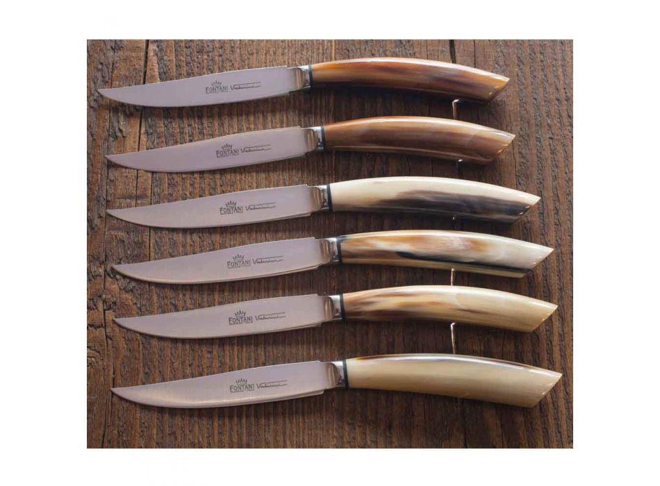 6 noży kuchennych Artisan z rękojeścią z rogu wołowego Made in Italy - Marine