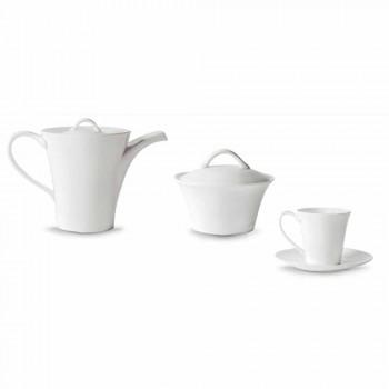 6 porcelanowych filiżanek z talerzem, dzbankiem i cukiernicą - Romilda