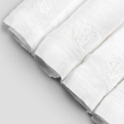 6 jasnych lnianych serwetek z włoskim dekorem luksusowego pudełka - Virtu