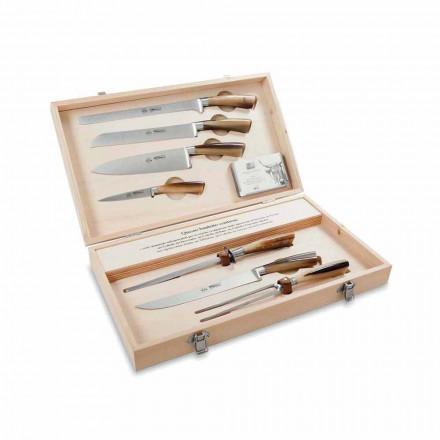 7 noży stołowych ze stali nierdzewnej, Berti wyłącznie dla Viadurini - Sanzio