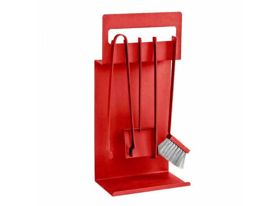 Akcesoria kominkowe z kolorowej stali Made in Italy 4 sztuki - Rachel