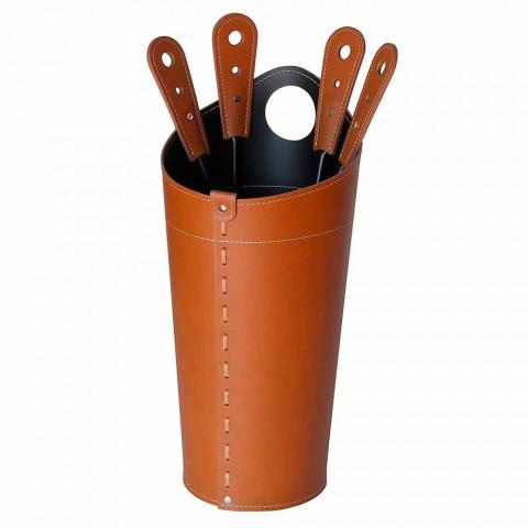 Akcesoria kominkowe ze skórzanymi uchwytami Nilar, nowoczesny design