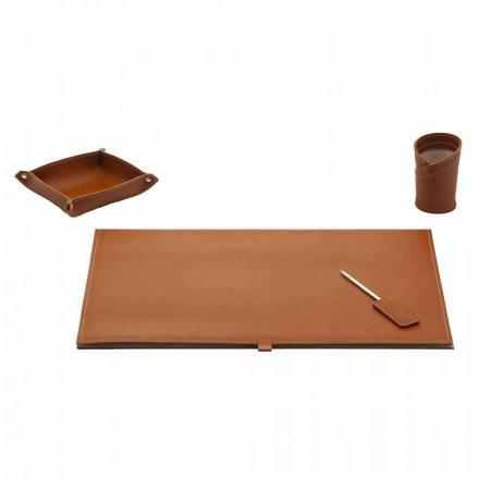 Akcesoria do designerskiego biurka ze skóry klejonej, 4 sztuki - Arystoteles