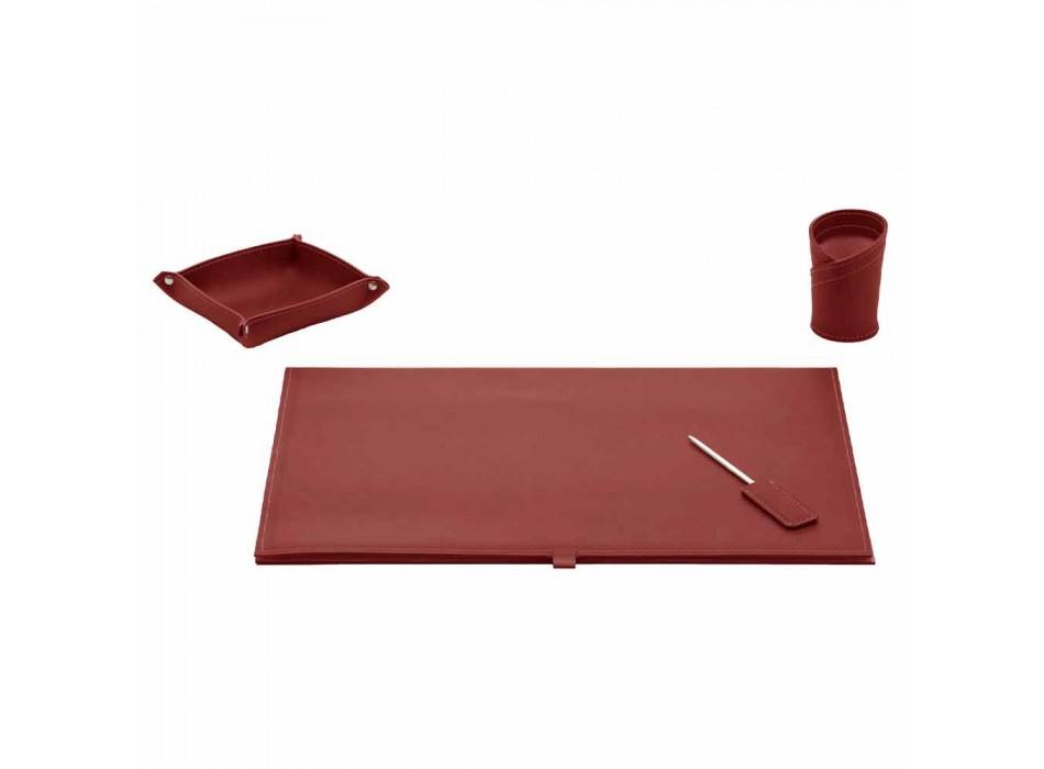 Akcesoria na biurko z regenerowanej skóry 4 sztuki Made in Italy - Arystoteles
