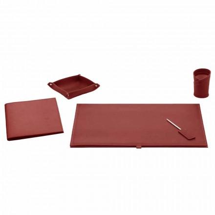 Akcesoria biurowe na biurko ze skóry klejonej, 5 sztuk - Arystoteles