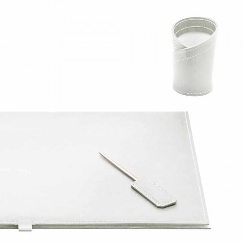 Akcesoria na biurko ze skóry regenerowanej 5 sztuk Made in Italy - Arystoteles