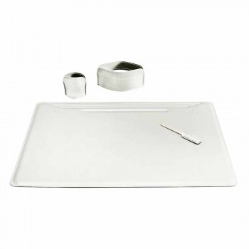 4-częściowe skórzane biurko z regenerowanej skóry Made in Italy - Ebe