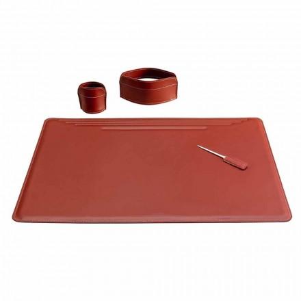 Akcesoria do skórzanego biurka, 4 sztuki, wyprodukowane we Włoszech - Ebe