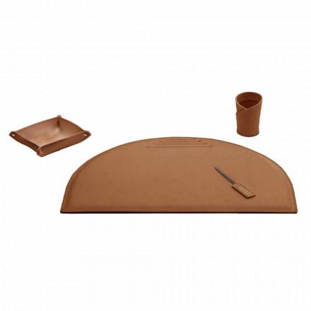 Akcesoria biurowe na biurko ze skóry regenerowanej, wyprodukowane we Włoszech - Medea