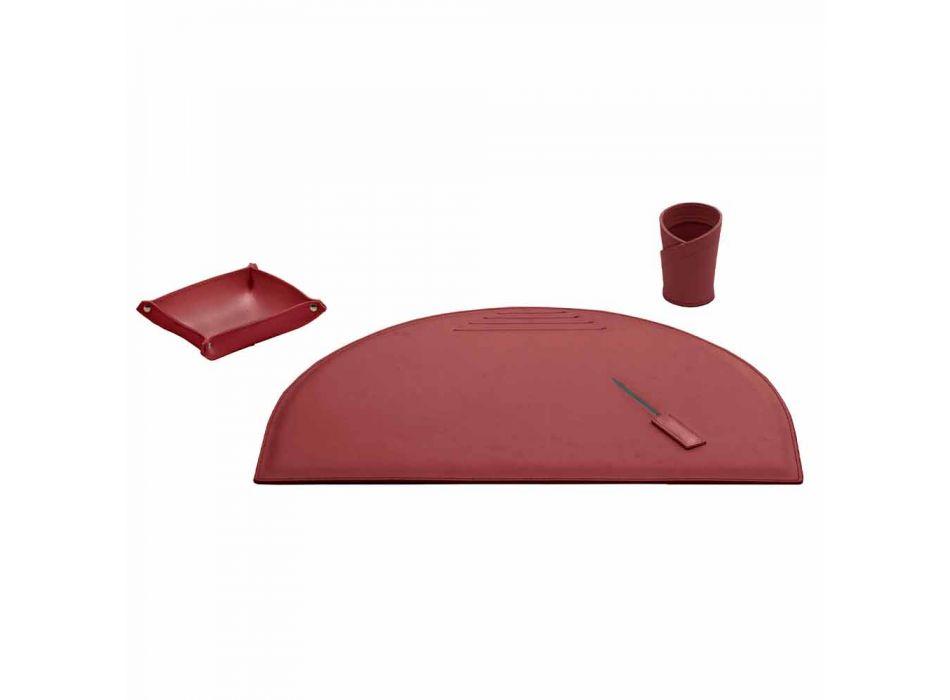 Akcesoria na biurko z regenerowanej skóry 4 sztuki Made in Italy - Medea