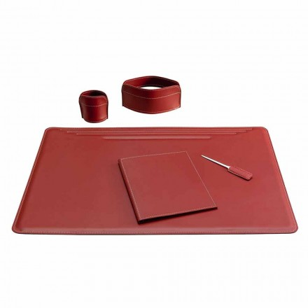 5-częściowe skórzane akcesoria do biurka Made in Italy - Ebe