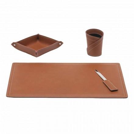 Akcesoria Regenerowane biurko skórzane, 4 sztuki, wyprodukowane we Włoszech - Ascanio