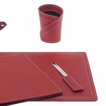 Akcesoria 5-częściowe skórzane biurko z regenerowanej skóry Made in Italy - Ascanio
