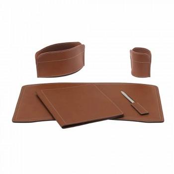 Akcesoria 5-częściowe skórzane biurko z regenerowanej skóry Made in Italy - Brando