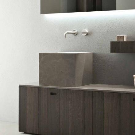 Umywalka nablatowa wysoka kwadratowa w kamieniu Modern Design - Farartlav1