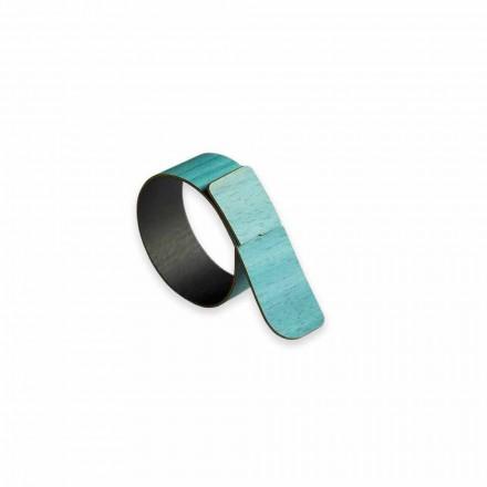 12 Nowoczesne drewniane pierścienie na serwetki Made in Italy - Stan