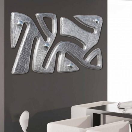 Wieszak ścienny design dekorowany ręcznie na srebrno, model Holt