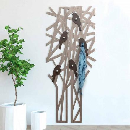 Wieszak ścienny z kolorowego drewna o nowoczesnym designie - Alberuccell