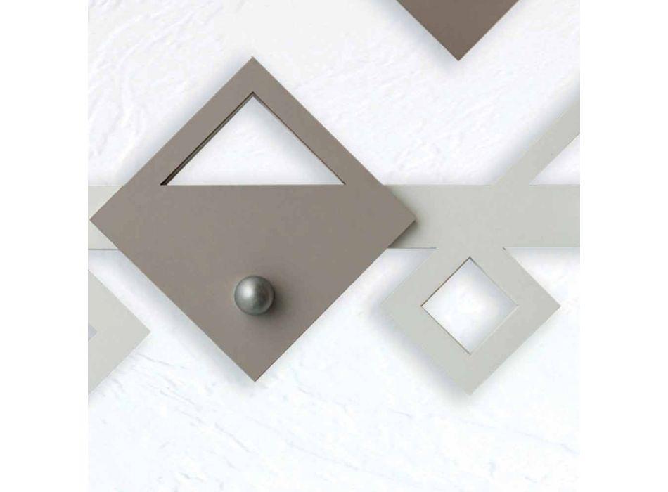 Biały i beżowy drewniany wieszak ścienny w nowoczesnym geometrycznym wzorze - Klimt