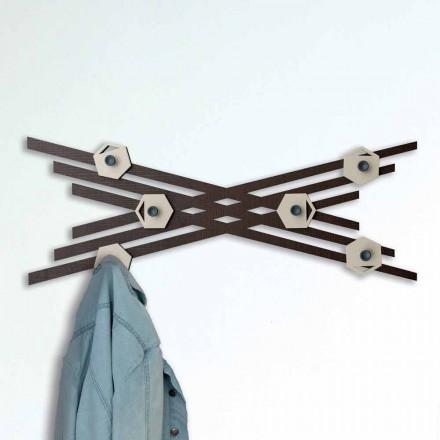 Wieszak ścienny w nowoczesnym stylu z kolorowego lakierowanego drewna - Picassino