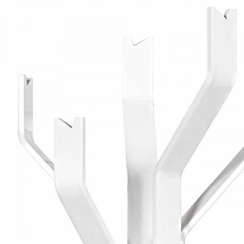 Biały wieszak Andrea z 5 hakami, nowoczesny design