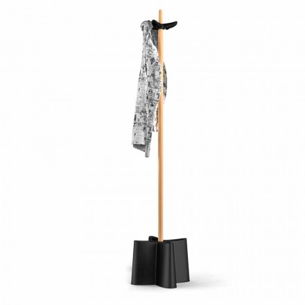 Stojak na parasol i wieszak design drewno bukowe i polipropylen Nurri